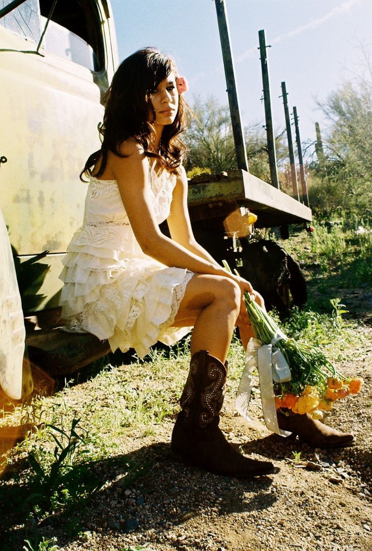 Short Wedding Dresses Worn With Cowboy Boots Popular Wedding