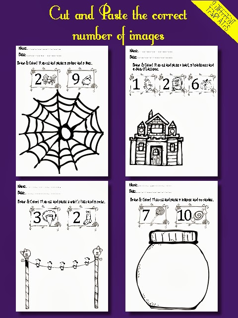 Cut and paste worksheets first grade math