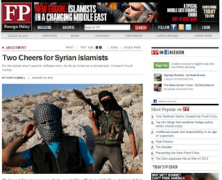 "screenshot of FP's article literally titled, ""Two Cheers for Syrian Islamists."""