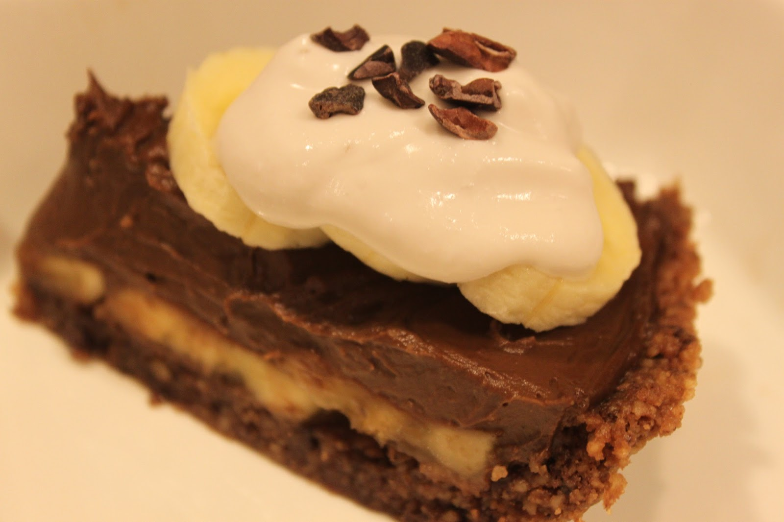 ... Banana Chocolate Avocado Pudding Pie on a Wheat free Walnut Chocolate