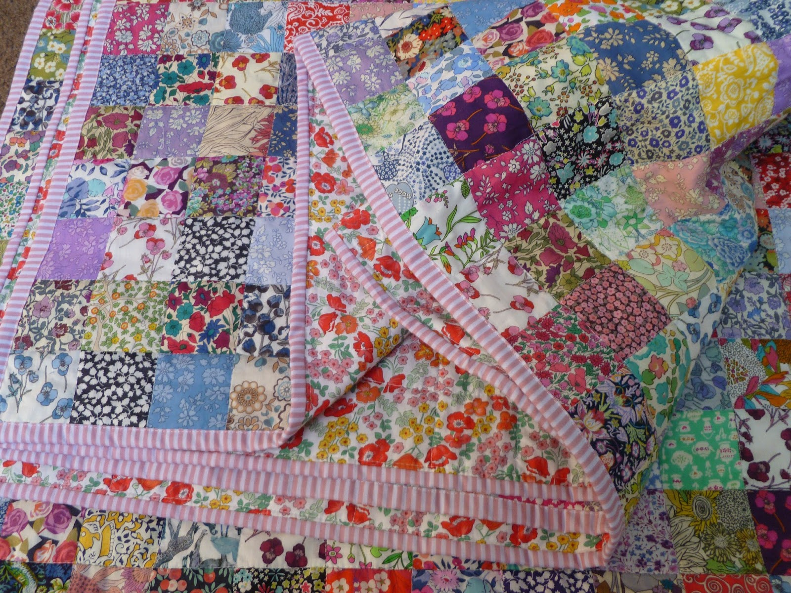 Stitch and Pieces: Liberty Squares Quilt: A finished quilt