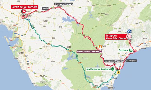 Mapa Etapa 8 La Vuelta 2013. Jerez de la Frontera / Estepona. Alto Peñas Blancas