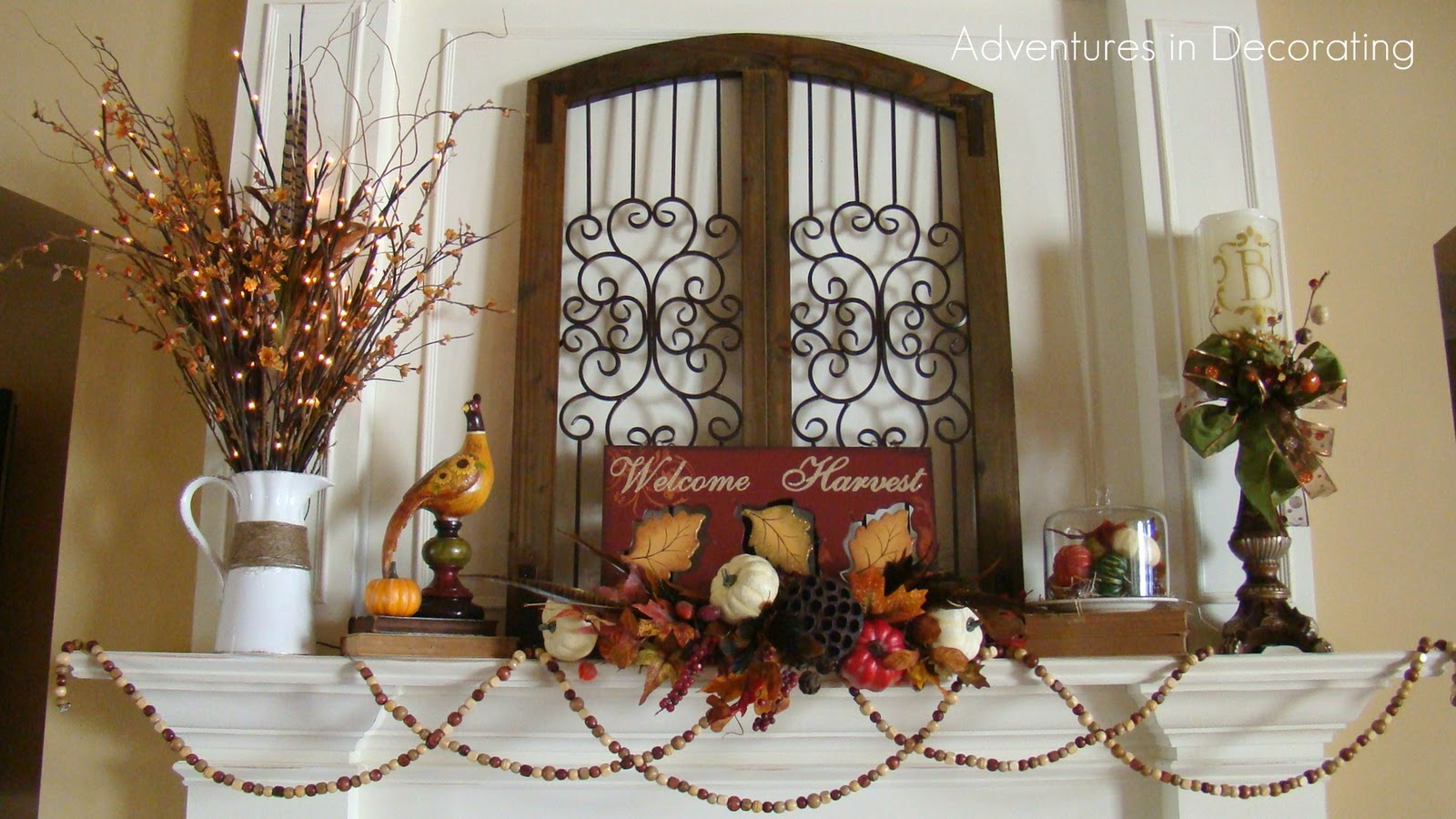 Adventures in decorating our quoti give upquot fall mantel for Fall mantel decor