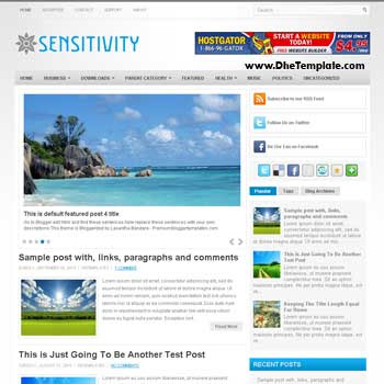 Sensitivity blog template. template image slider blog. magazine blogger template style. magazine style template blogspot