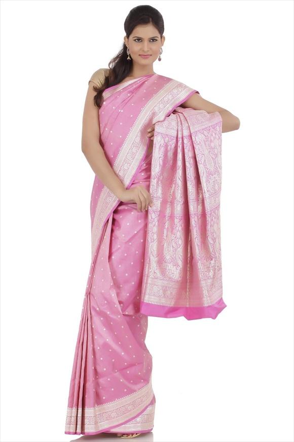 Carmine Pink Kattan Silk Banarasi Saree