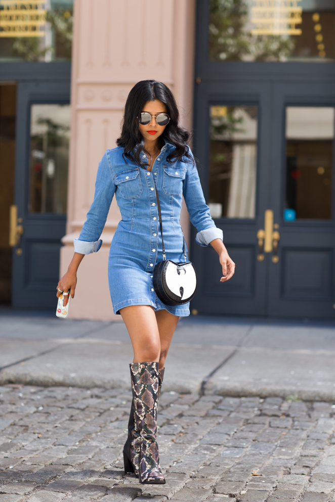 Chambray Dress With Tights And Open Toe Shoes