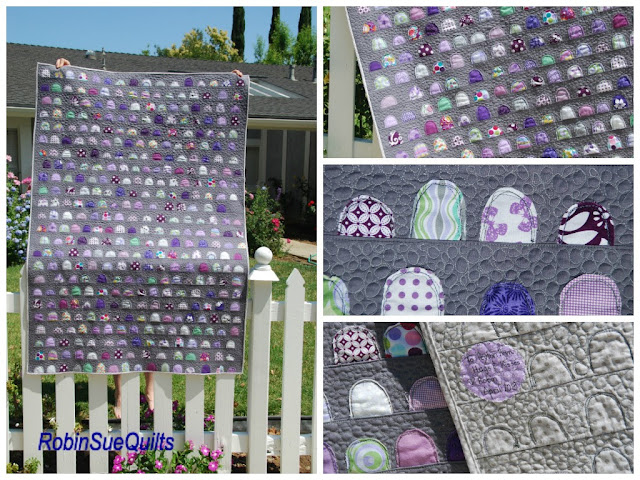 sunday morning quilts, scrap quilting, purples and gray,  scraps, FMQ