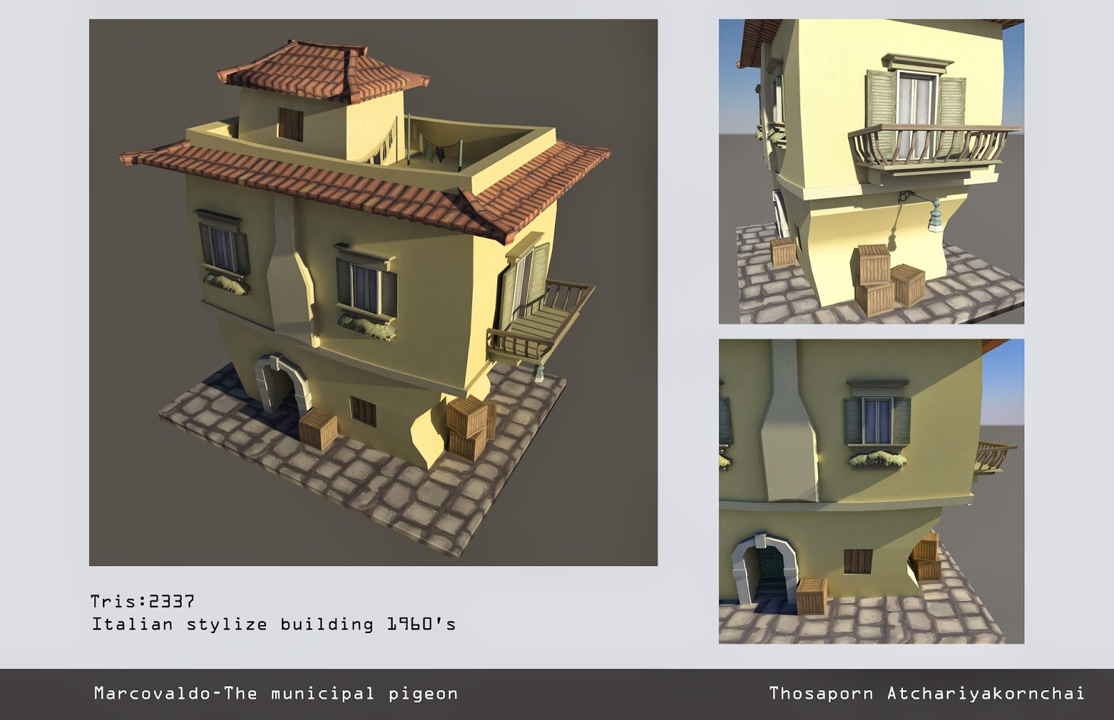 It Was A Stylize Italian Building Model With Hand Painted Texture. We  Allowed To Use Only Color Map Like A Blizzard Style.