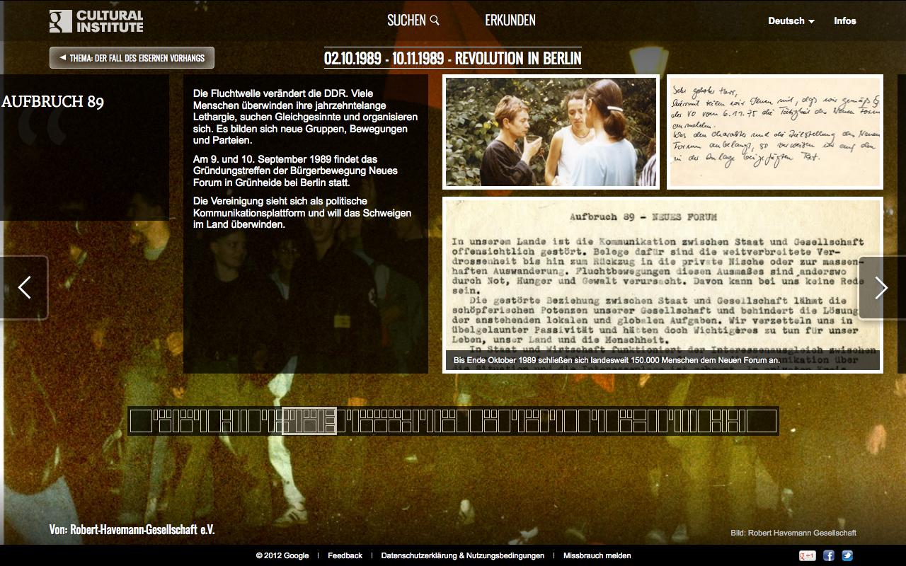 Screenshot Google Online Ausstellung Fall des eisernen Vorhangs