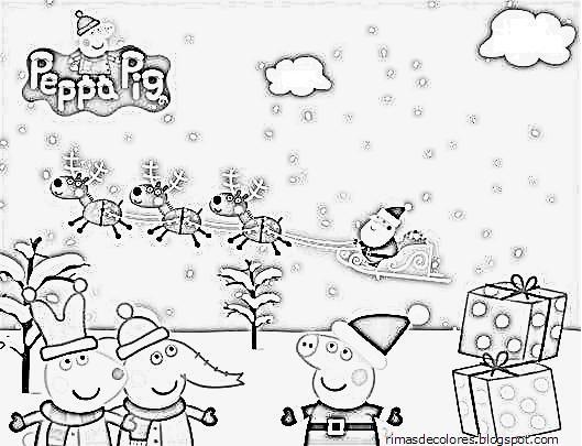 Blog de los niños: Dibujos de Navidad de Peppa Pig para colorear