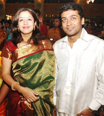 South Indian actress Jyothika in dark green kancheepuram silk sari