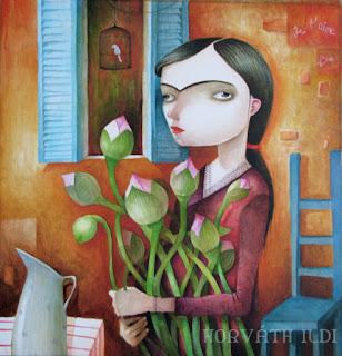 lány, mediterrán, korunk Frida Kahlo ihlette lány francia környezetben, lótuszvirággal kezében