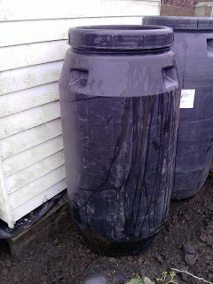 Recycled food containers as waterbutts over 260 litres of water in each one. Cheaper and stronger than most waterbutts.