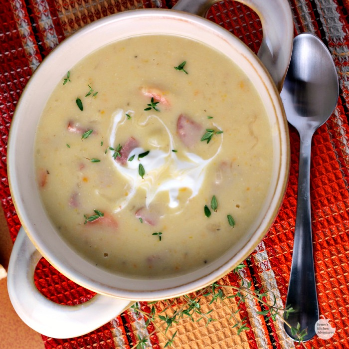 Creamy Potato, White Cheddar, and Kielbasa Soup