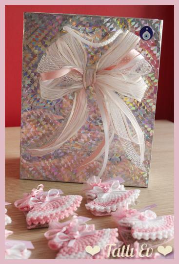 Bebek Elbiseli Bebek Şekerleri ve baby shower Torbası