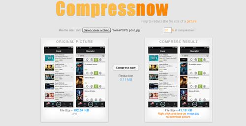 comprime tus imágenes con Compressnow