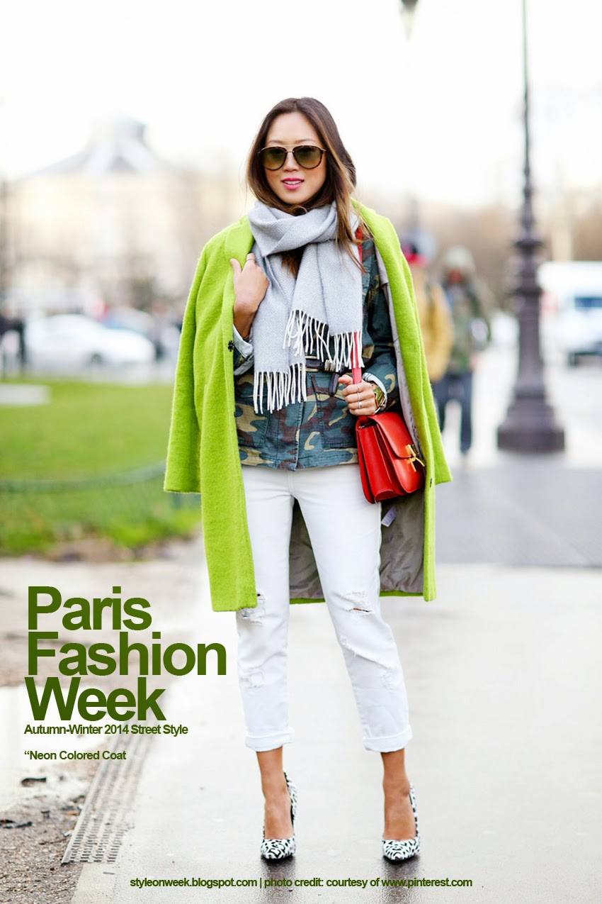 Paris Fashion Week Autumn-Winter 2014 Street Style - Neon Colored Coat