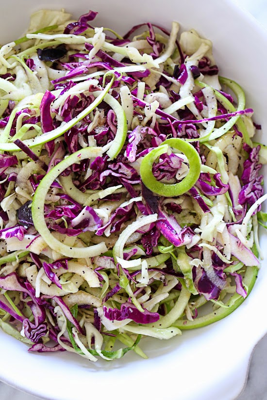 Spiralized Apple and Cabbage Slaw – a quick and easy side dish!