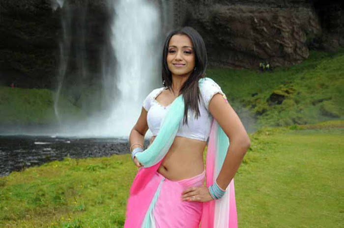 Trisha in HalfSaree Exposing her Navel with Short White Blouse  actress wallpapers