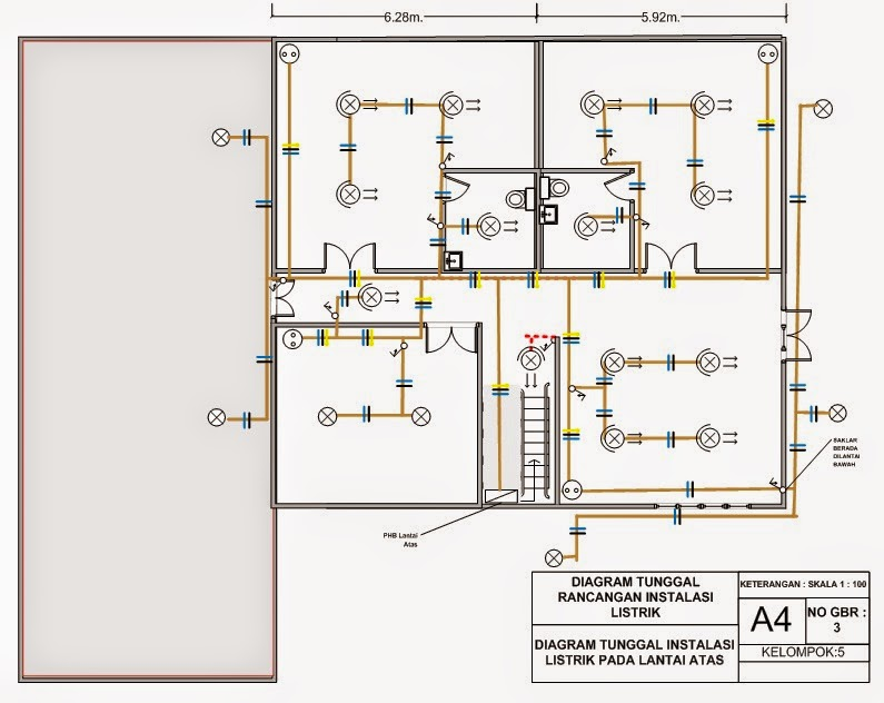 Menggambar rancangan instalasi listrik untuk rumah 2 tingkat dengan diagram kawat tunggal rancangan instalasi listrik bagian lantai dasar cheapraybanclubmaster Choice Image