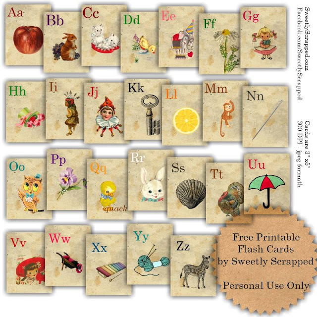 Sweetly scrapped free printable abc flash cards for Flash cards alphabet letters