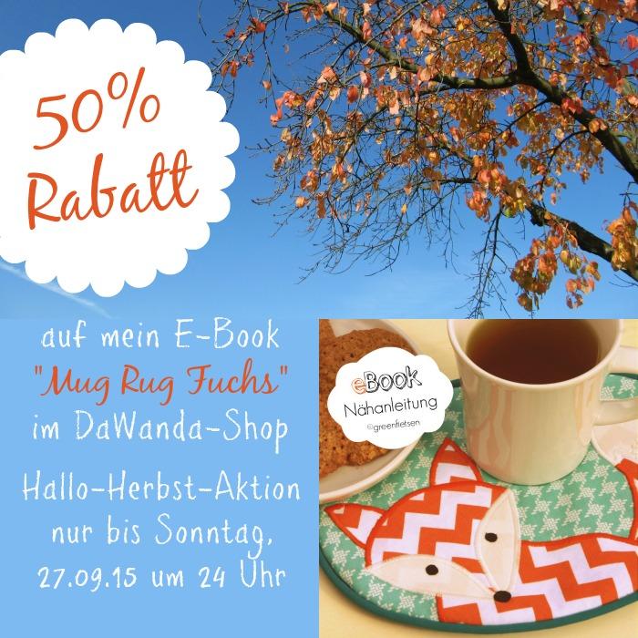 "DaWanda-Shop: 50% Rabatt auf mein E-Book ""Mug Rug Fietsi Fuchs"" bis 27.09.15"