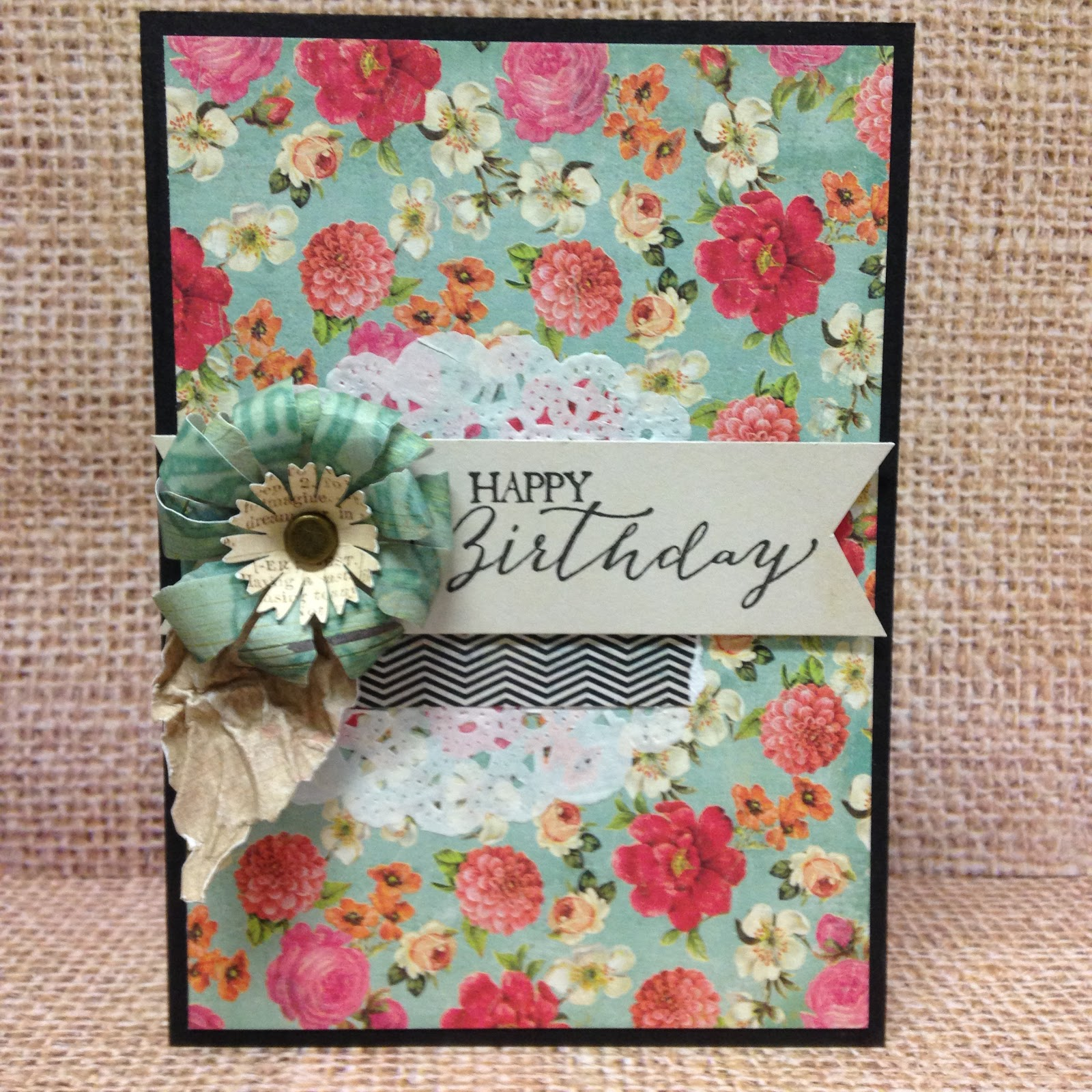 Sewpaperpaint Happy Birthday Stamped Card With Su Stamps And Paper