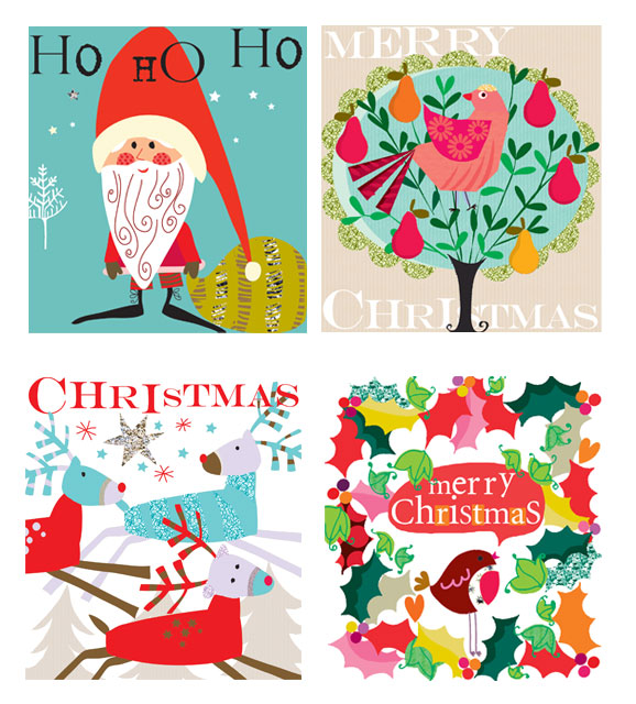 ho ho ho partridge in pear tree reindeer bird in holy Christams 2012 greeting cards designers Liz and Pip Ltd