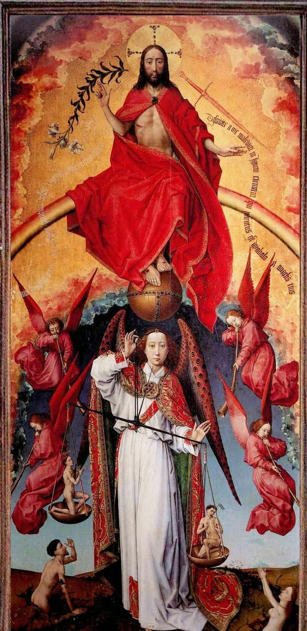 Poliptico do Juízo Final, painel central. Roger van der Weyden. Beaune, Musée de l'Hôtel-Dieu