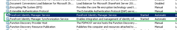 Start Forefront Identity Manager in Services Console