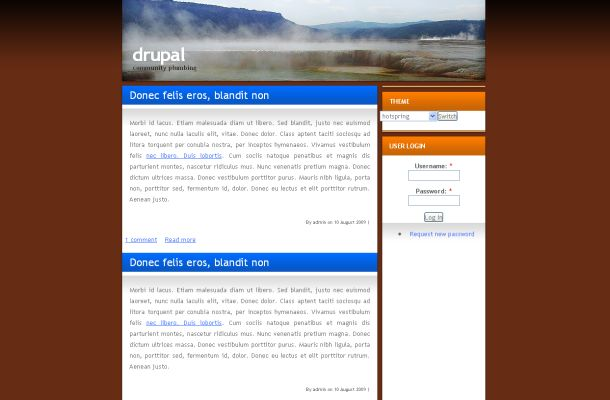 Free Drupal Orange Brown Nature Theme Template
