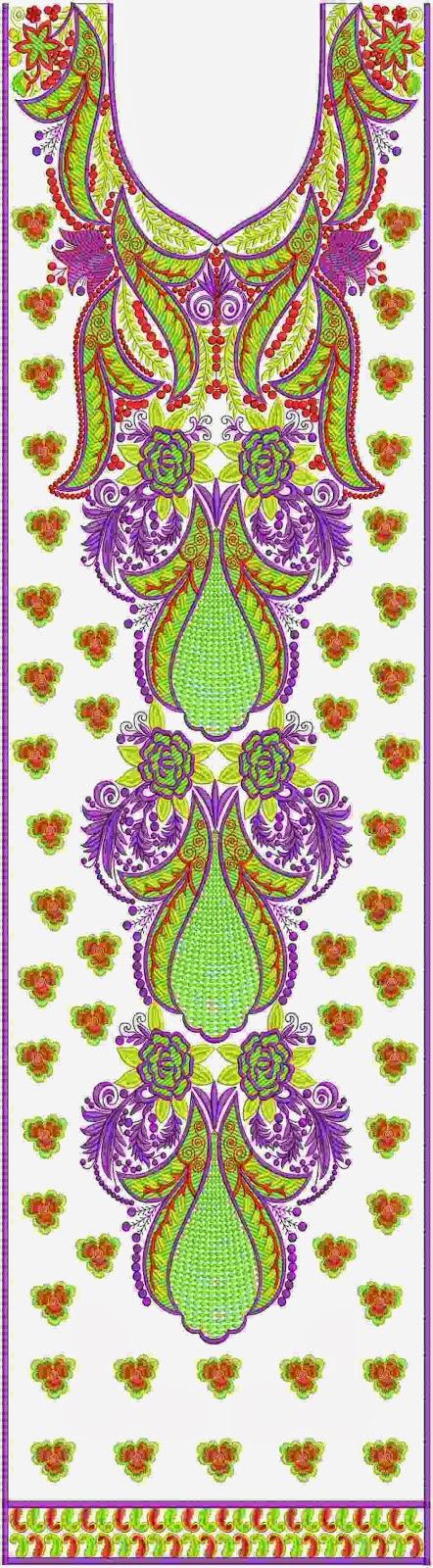 blomme quilt masjien borduurwerk Kurti rok