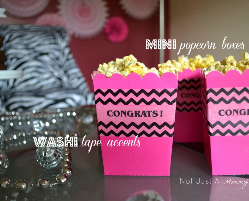 bling baby shower table popcorn boxes