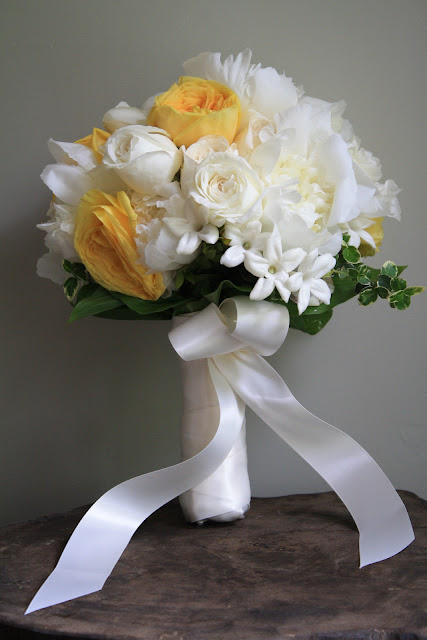 White and yellow rose bride's bouquet Troy NY