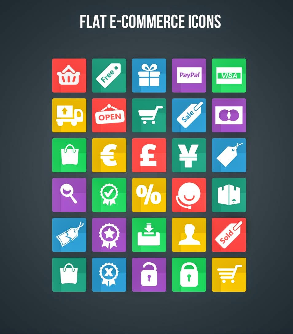 Flat eCommerce Shopping Icons PSD