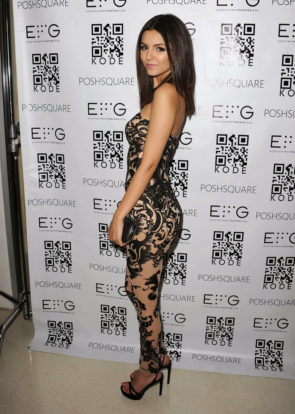 Victoria Justice stuns in a revealing lace catsuit at the Kode Mag Spring 2015 Issue Release Party in LA