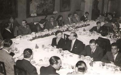 Comida de despedida del Match Internacional de Ajedrez Interclubs 1951 - Mesa principal con los organizadores y autoridades