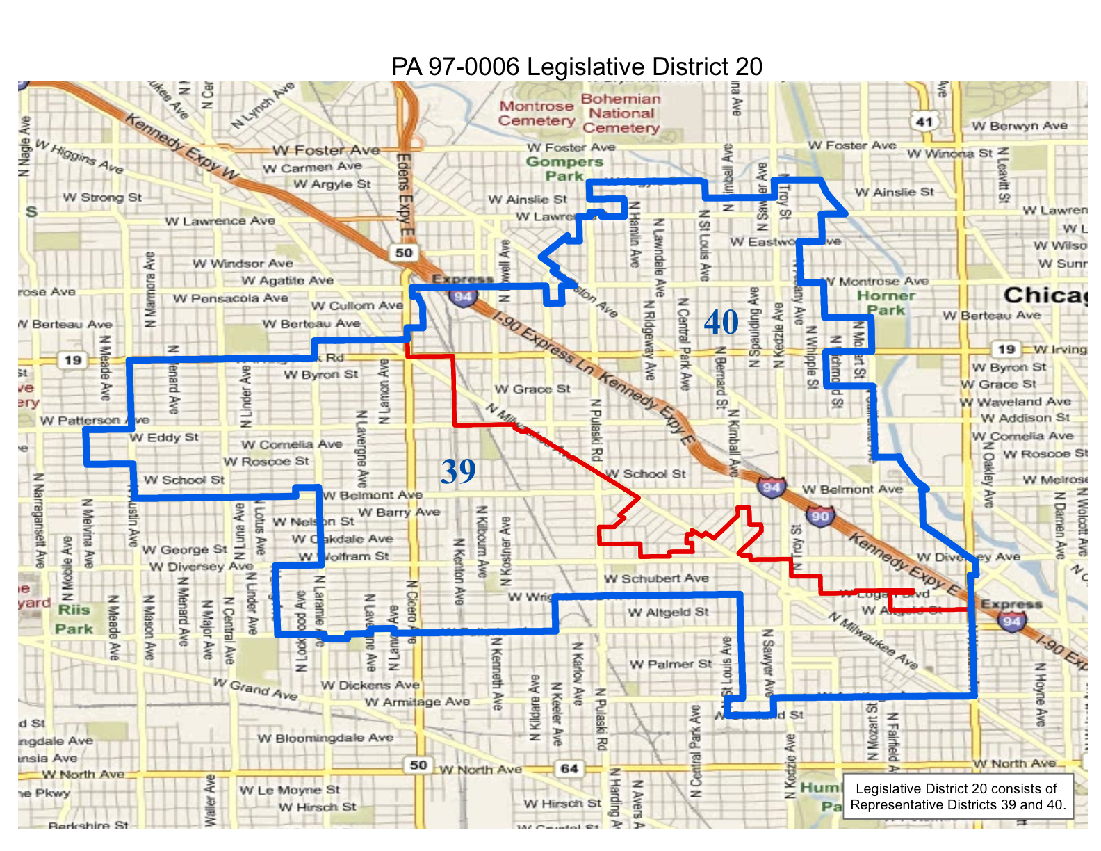 map of realigned illinois state legislative district 20 and state representative districts 39 and 40