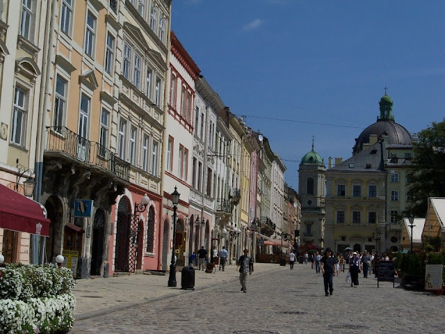 Rynok Square Downtown of Lviv, Ukraine