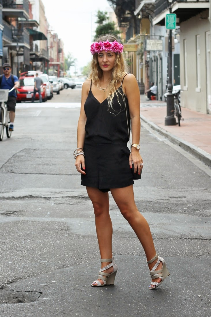 LuLu's Black Romper with Wedge Sandals