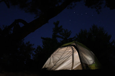 Ed's Kelty Grand Mesa 2 tent set up with a starlight sky background