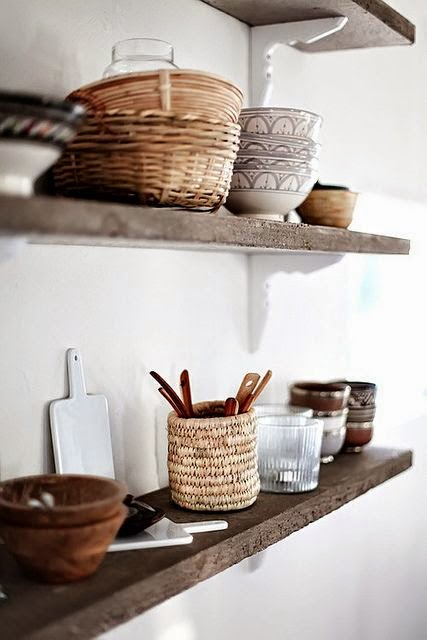 basket storage on open shelving