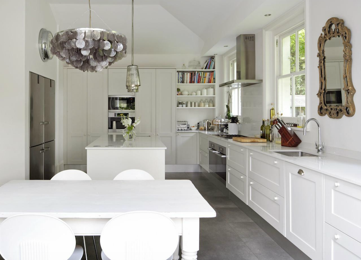 A touch of Luxe: White European kitchen