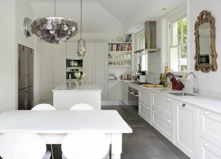A touch of Luxe: White European kitchen