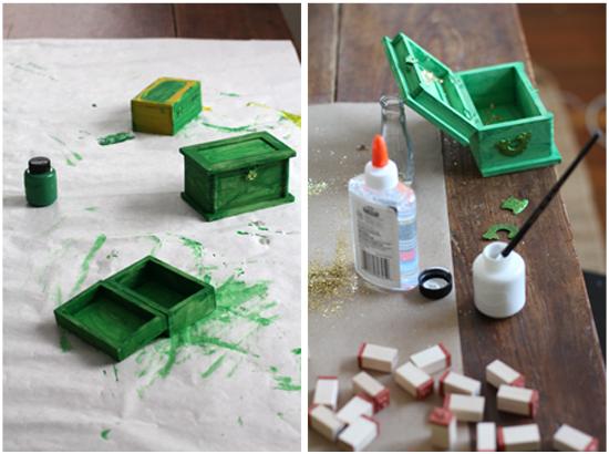 Crafting leprechaun treasure boxes for St. Patrick's Day.  Everyday Magic blog.