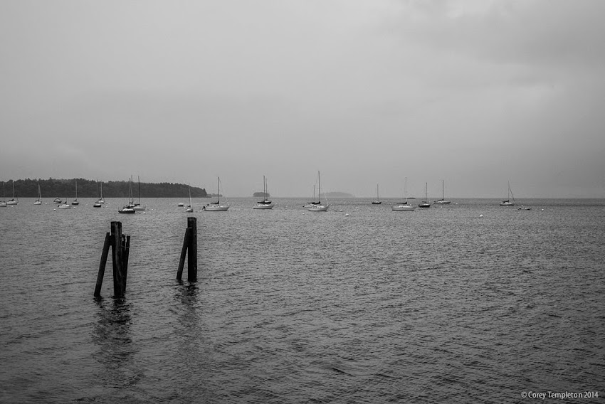 Portland, Maine September 2014 East End Beach black and white of Casco Bay photo by Corey Templeton