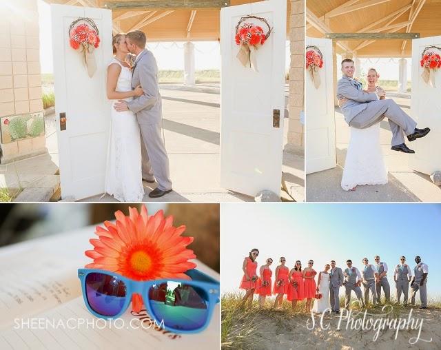 French door wedding entrance, orange flowers, orange bridesmaid dresses, coral, sunglasses beach wedding
