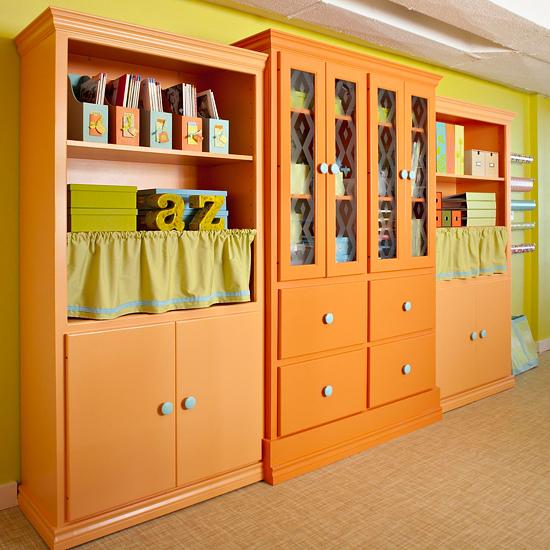 cabinet creativity bright basement work space decorating