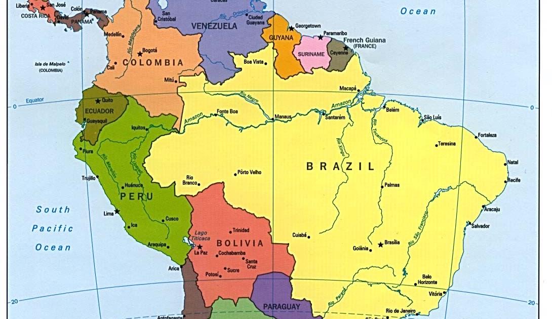 Maps Of Dallas Political Map Of South America - Mapa de sur america