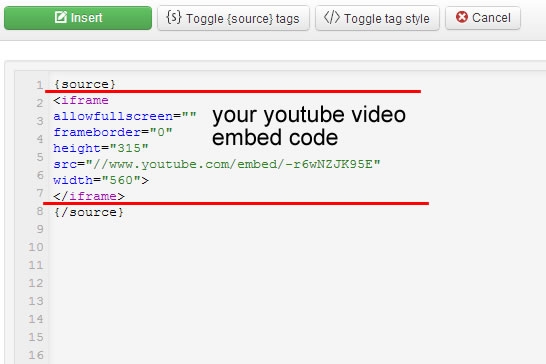 how to put the embed code of the video inside the html toggle editor via sourcerer